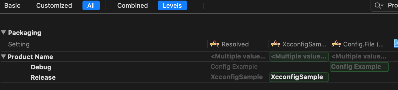 Xcode Levels view