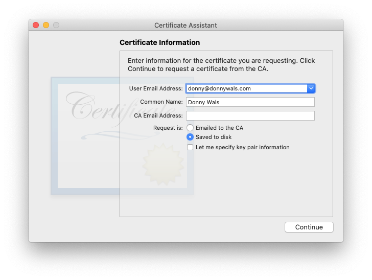 Certificate Sign request example