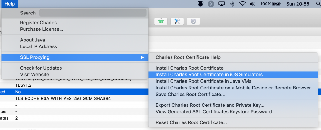 Installing root certificates for the simulator from the help menu