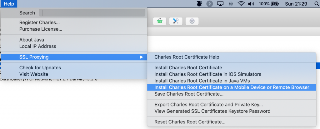 Help menu with install root certificate in remote browser or device selected