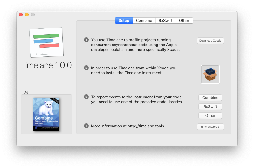 Screenshot of the Timelane installer app